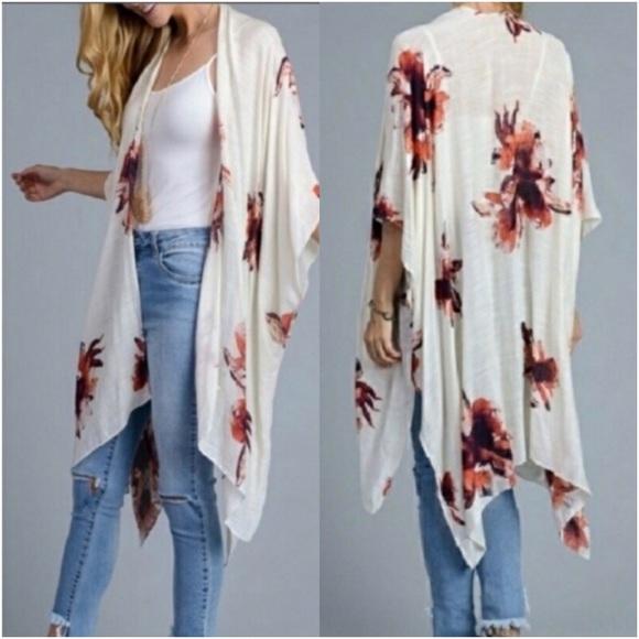 Accessories - Boho Ivory Lightweight Floral Kimono Armholes O/S